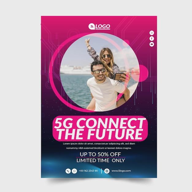 5g flyer v concept Gratis Vector