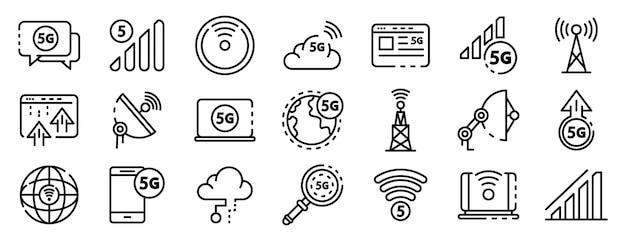 5g geplaatste technologiepictogrammen, schetsen stijl Premium Vector
