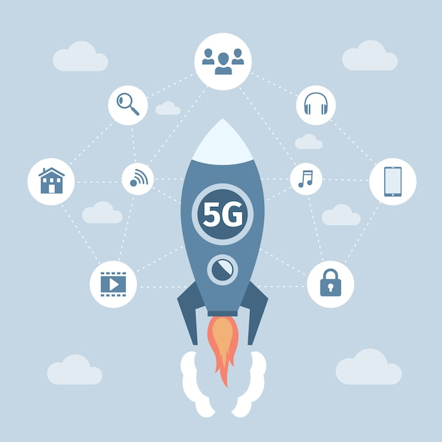 5g netwerk draadloze technologie vector platte banner concept. ruimteracket met vliegende 5g-technologie. Premium Vector