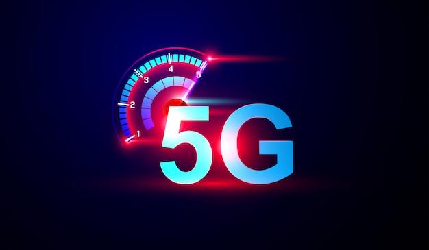 5g netwerk internet logo met snelheidsmeter vector. Premium Vector