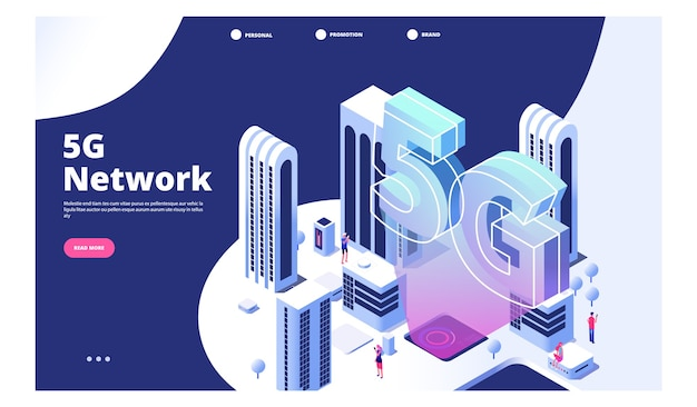 5g netwerkconcept Premium Vector