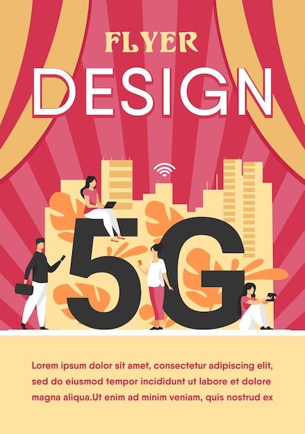 5g-netwerken en telecomconcept. mensen die digitale apparaten gebruiken. flyer-sjabloon Gratis Vector