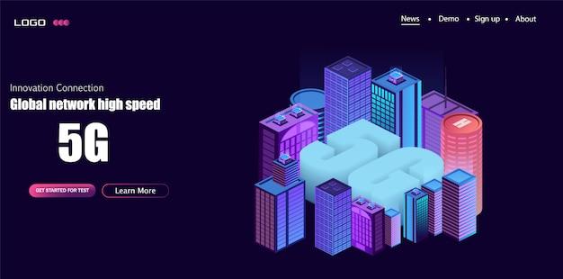 5g netwerklogo over de slimme stad met pictogrammen van stadsinfrastructuur Premium Vector