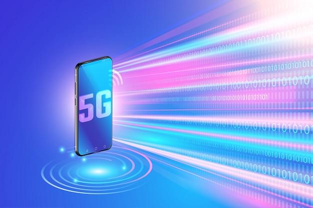5g-netwerktechnologie op smartphone en snel draadloos netwerk. volgende generatie internet Premium Vector
