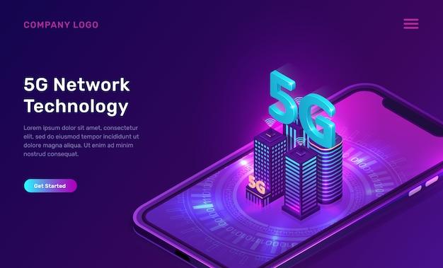 5g-netwerktechnologie, websjabloon Gratis Vector