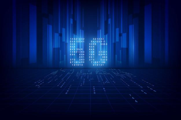 5g technische achtergrond. digitale gegevens als cijfers met elkaar verbonden Premium Vector