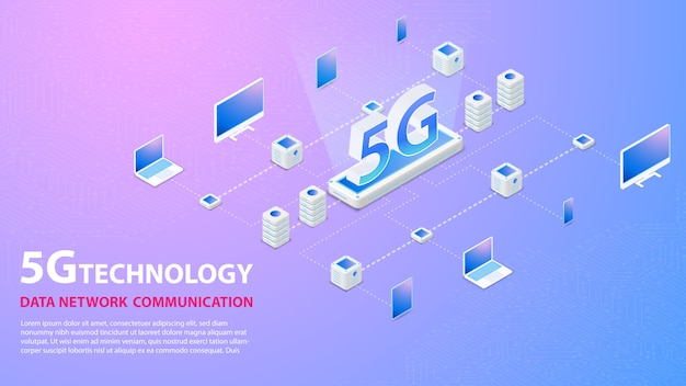 5g technologie datanetwerk communicatie draadloze hispeed internetbanner Premium Vector