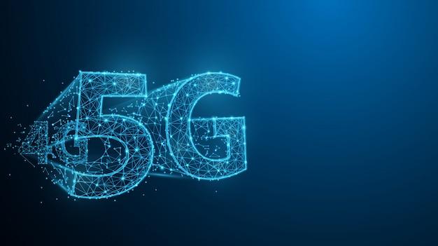 5g-technologie vormt lijnen, driehoeken en ontwerp in deeltjestijl. illustratie vector Premium Vector