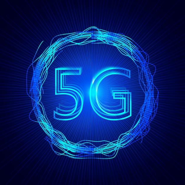 5g-technologieachtergrond. digitale gegevensachtergrond. nieuwe generatie mobiele netwerken. Premium Vector