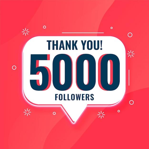 5k volgers op social media bedankt banner Gratis Vector