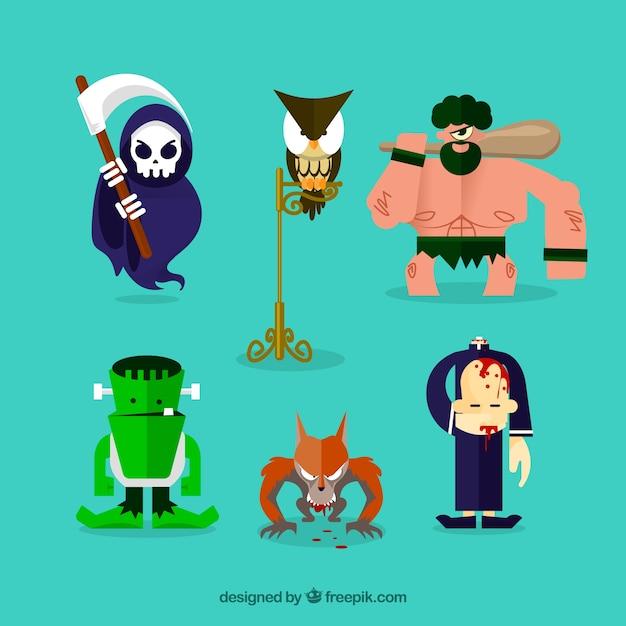 6 halloween karakters op een turkooise achtergrond Gratis Vector