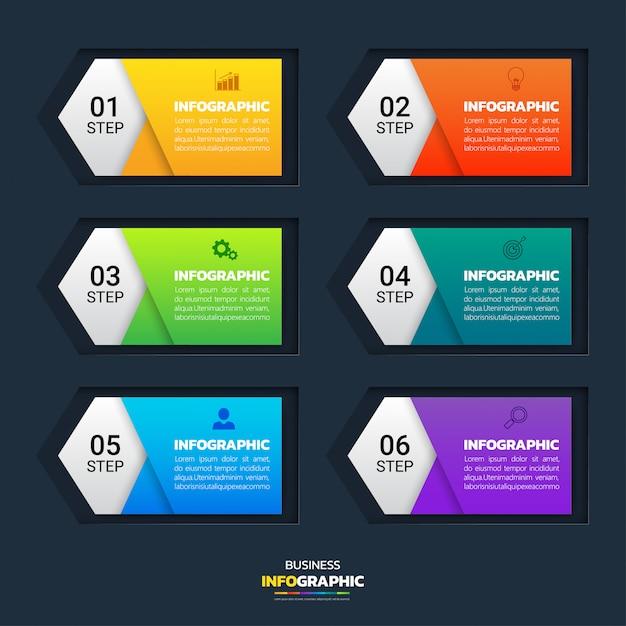 6 stappen infographic banners Premium Vector