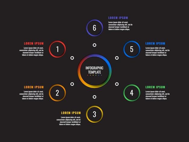 6 stappen infographic sjabloon met ronde papier gesneden elementen. bedrijfsproces diagram. bedrijfspresentatie dia sjabloon. modern vector info grafisch lay-outontwerp Premium Vector