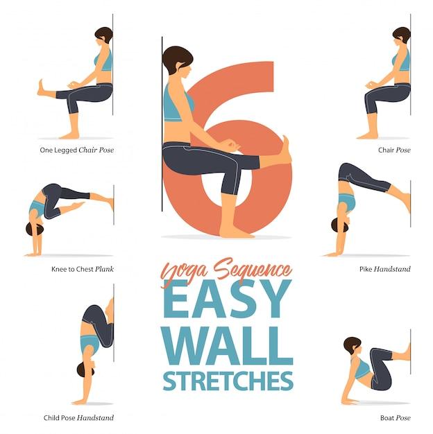 6 yoga houdingen voor rekoefeningen. Premium Vector