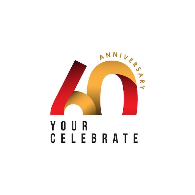 60 jaar verjaardag vector sjabloon ontwerp illustratie Premium Vector