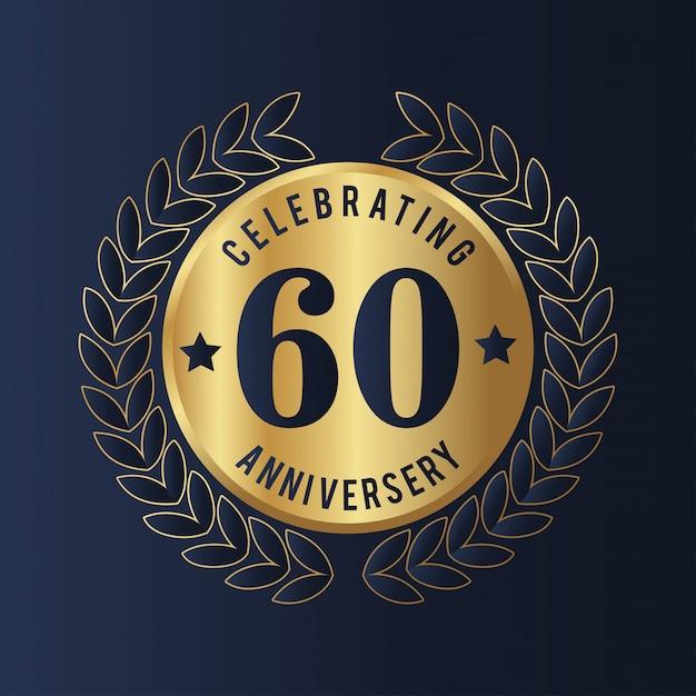60-jarig jubileum badge Premium Vector