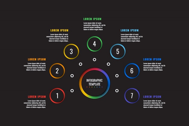 7 stappen infographic sjabloon met rond papier gesneden elementen op zwart. bedrijfsproces diagram Premium Vector