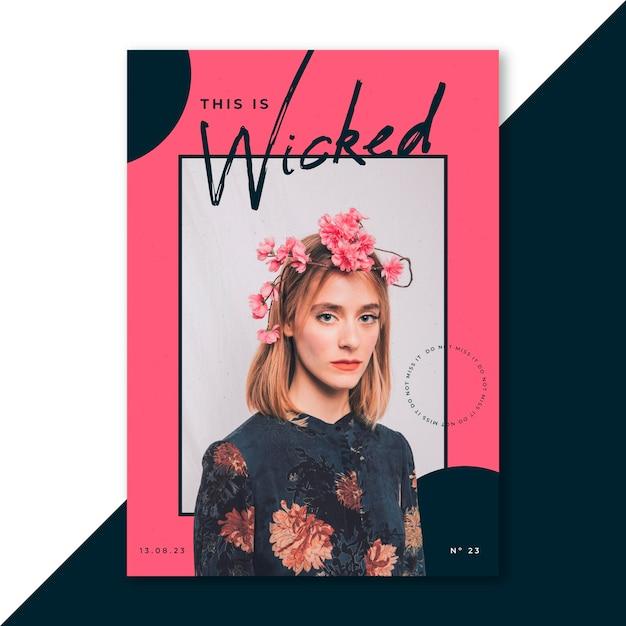 70s stijl esthetische vrouw met bloemen poster Gratis Vector