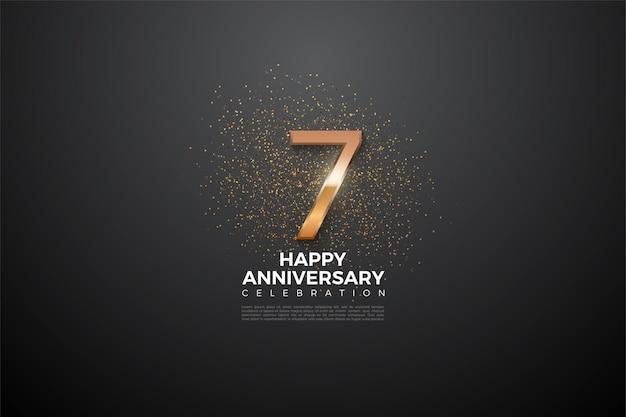 7e verjaardag met een zeer glanzende nummerillustratie in het midden. Premium Vector
