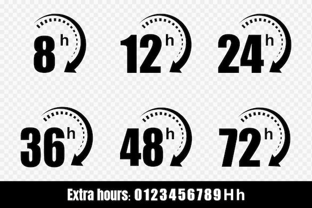 8, 12, 24, 48 en 72 uur klokpijlpictogrammen. bezorgservice, online deal resterende tijd website symbolen. illustratie. Premium Vector
