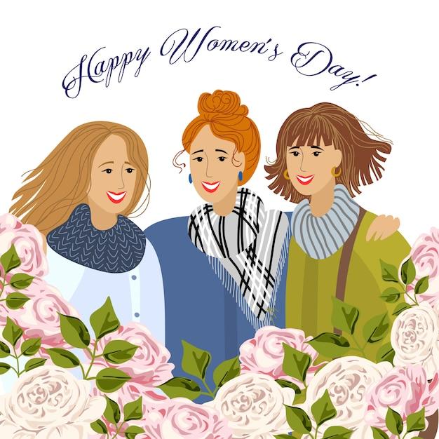 8 maart. drie vrouwen met tuinrozen. sjablonen voor kaart, poster, flyer Premium Vector