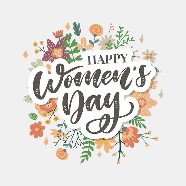 8 maart. gelukkige vrouwendag felicitatie kaart met lineaire bloemen krans Premium Vector