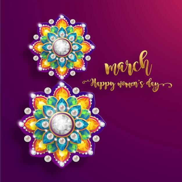 8 maart. met realistisch van mooie bloem wenskaart. internationale gelukkige vrouwendag. Premium Vector