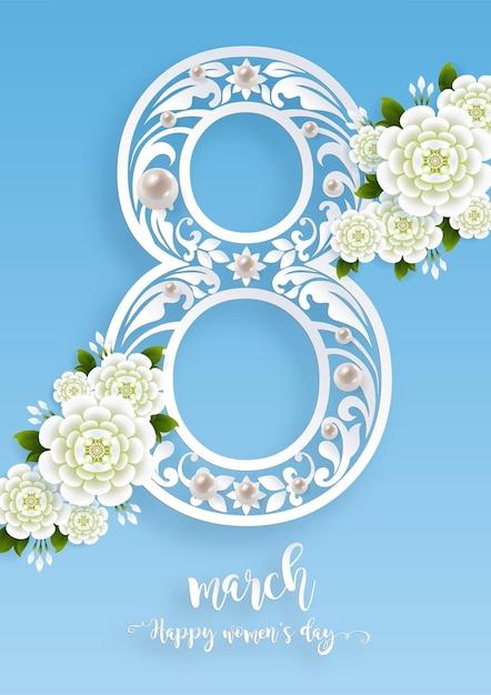 8 maart. met realistisch van mooie bloem wenskaart. internationale gelukkige vrouwendag. Gratis Vector