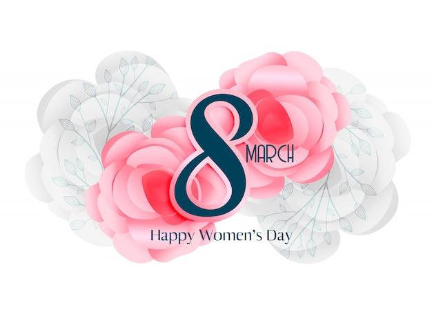 8 maart mooie de kaartontwerp van de vrouwendag Gratis Vector