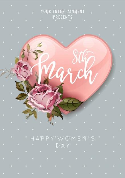 8 maart vrouwendag hart en bloemboeket Premium Vector
