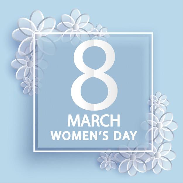 8 maart. vrouwendag wenskaart. origami bloemen. Premium Vector