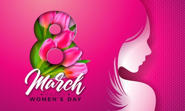 8 maart. womens dag wenskaart met jonge vrouw silhouet en tulip flower. Premium Vector