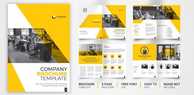 8 pagina geel zwart bedrijfsbrochuremalplaatje Premium Vector
