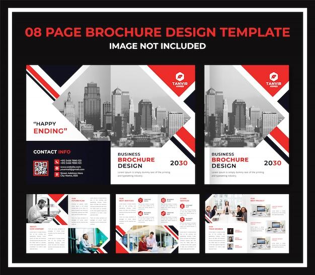 8 pagina's zakelijke brochure catalogus dossier Premium Vector