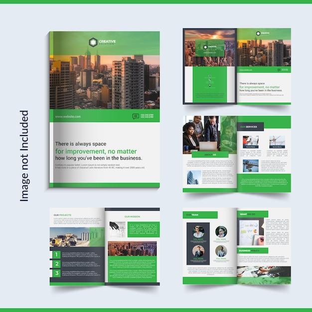 8 pagina's zakelijke brochure design Premium Vector