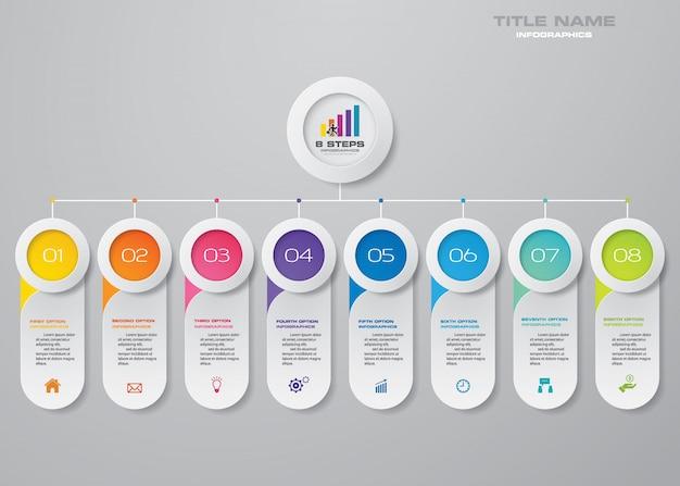 8 stappen grafiek infographicselementen Premium Vector