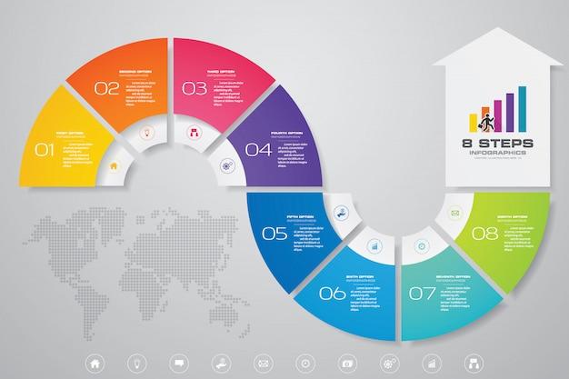 8 stappen infographics element pijl sjabloon grafiek. Premium Vector