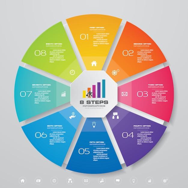 8 stappen infographicselementen van cycle chart. eps 10. Premium Vector