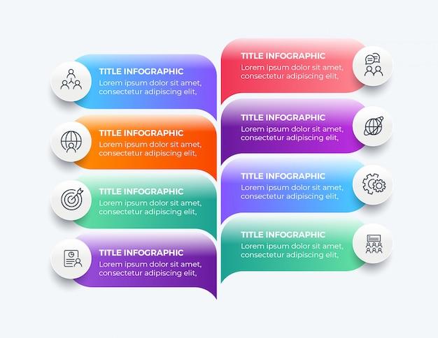 8 stappen moderne zakelijke infographic Premium Vector