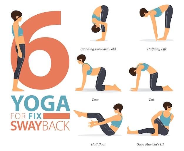 8 yogahoudingen of asana-houding voor training in yoga voor fix swayback-concept. vrouw trainen voor het uitrekken van het lichaam. platte cartoon. Premium Vector