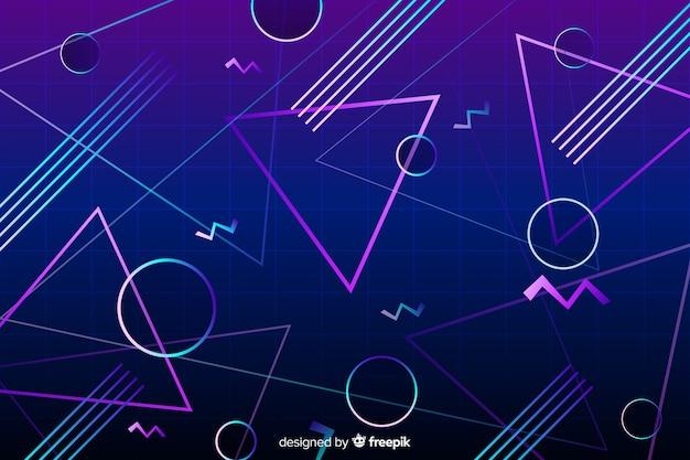 80's geometrische achtergrond plat ontwerp Gratis Vector