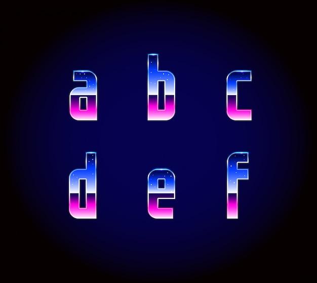 80s retro futurism sci-fi lettertype alfabet Premium Vector