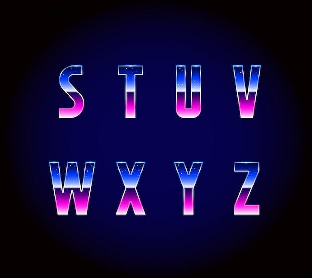 80s retro futurisme sci-fi lettertype alfabet vector Premium Vector
