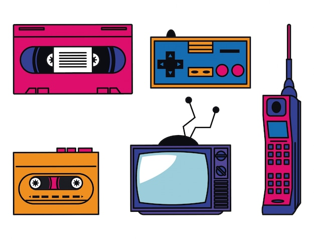 80s technologie apparaten Premium Vector