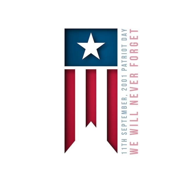9/11 banner voor vs patriot day. Premium Vector