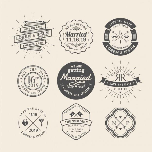 9 bruiloft badges Gratis Vector