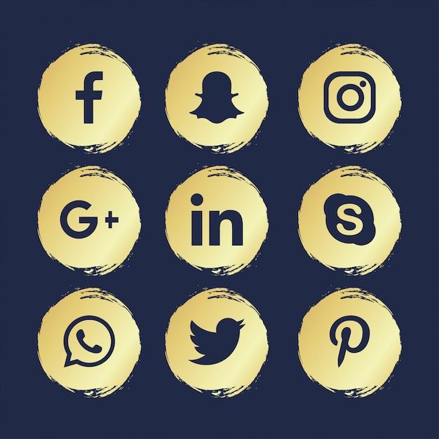 9 sociaal netwerken Premium Vector