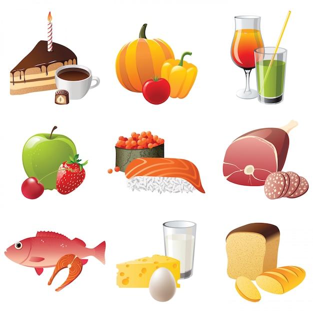 9 zeer gedetailleerde voedselpictogrammen Premium Vector