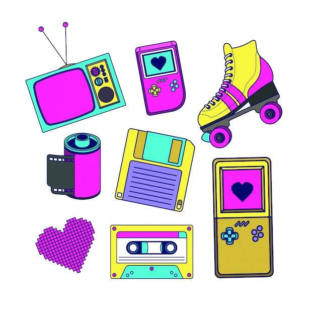 90s decade set pictogrammen Premium Vector