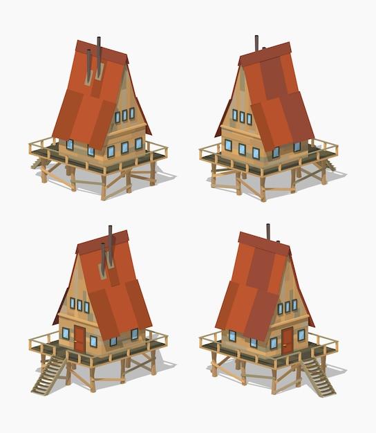 A-frame houten 3d lowpoly isometrisch huis Premium Vector